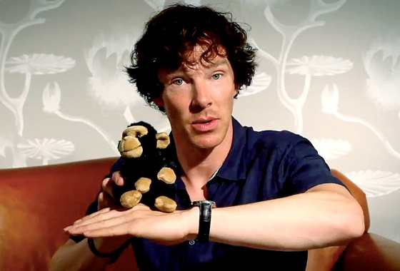 He's explaining how Sherlock survived. With a monkey.