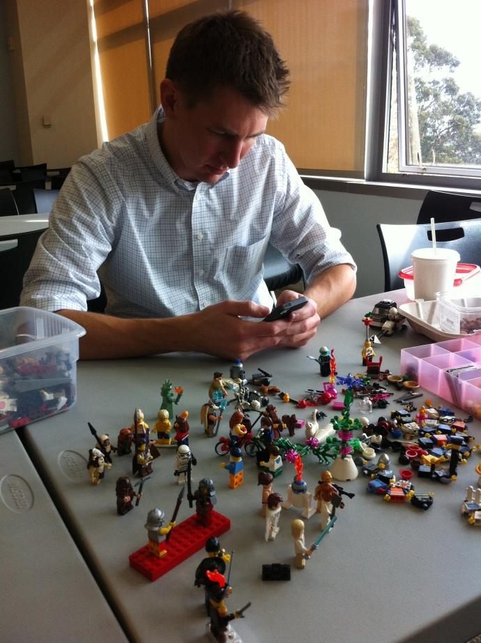 A boy and his Legos.