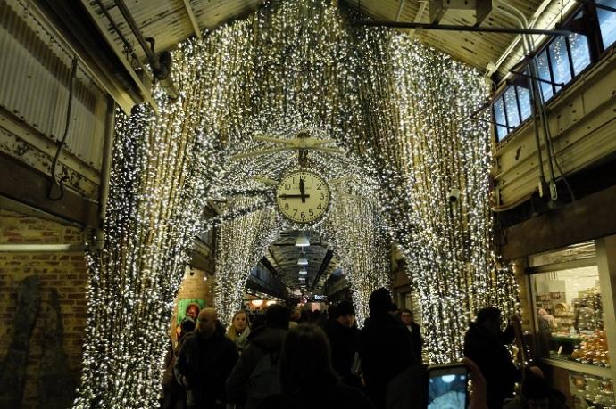 Inside sparkly Chelsea Market.